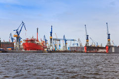Ship dock. At harbor of Hamburg royalty free stock photography