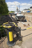 Ship in dock on the island of suomenlinna near helsinki Stock Photos