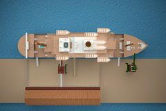 Ship in dock from top view. 3d rendering Stock Images