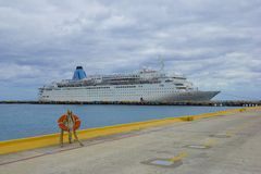 Ship docked in Costa Maya, Mexico, Caribbean Royalty Free Stock Image