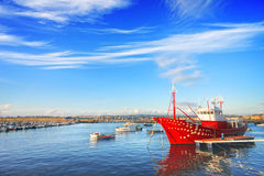 Ship docked on Santurce port Royalty Free Stock Photography
