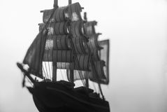 Ship double exposure. Black and white Royalty Free Stock Image