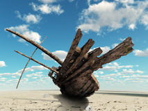 The ship in the dried up sea Stock Image