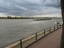 Ship drives the Rhine upstream. Rees, Germany Royalty Free Stock Images