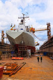 A ship in a dry dock Royalty Free Stock Photo