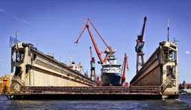 Ship in dry dock in the harbour in Gothenburg Royalty Free Stock Photography