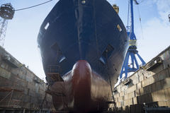 Ship in dry dock Royalty Free Stock Photo