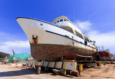 Ship in dry dock during the overhaul. Stock Images