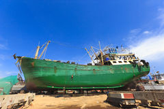 Ship in dry dock during the overhaul. Shipyard Royalty Free Stock Photos
