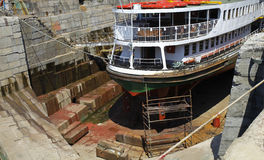 Ship in dry dock. Ship under construction in dry dock Royalty Free Stock Photography