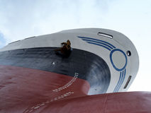 Ship in dry dock. Under final hull coating Stock Photos