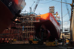 Ship in dry dock under repairs Royalty Free Stock Photos