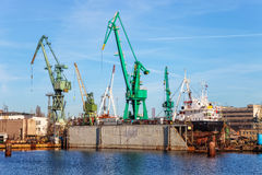 Ship on a dry dock Stock Images
