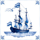 Ship on the Dutch tile 1, frigate Stock Photo