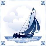 Ship on the Dutch tile 3, Sailboat Stock Photos