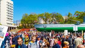 Ship embankment on may 9. Many people celebrate victory Day stock photos