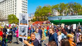 Ship embankment on may 9. Many people celebrate victory Day royalty free stock image
