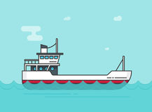 Ship empty vector illustration, flat cartoon boat sailing on sea or ocean water line outline, vessel floating Stock Photography
