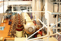 Ship engine. Gym during a renovation of the large ship specialized repair marine engine 6 cylinder, 4 stroke in Gdansk Repair Shipyard Royalty Free Stock Photo