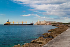 Ship entering the bay of Havana, Cuba Royalty Free Stock Images