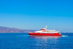 Ship entering Hydra island. Royalty Free Stock Photo