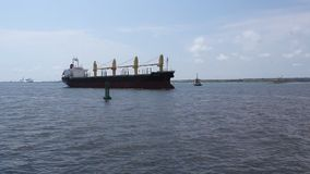 Ship entering into the port. And buoy stock footage