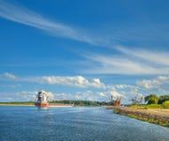 Ship entering port in Swinoujscie, Poland Stock Image