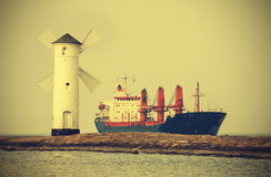 Ship entering port, vintage retro style. Stock Image