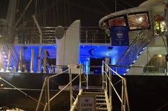 Ship entrance navigating bridge. Ladder ship illuminated modern sailing ship deck navigating bridge at Varna port,Bulgaria on May 1st,2014 Stock Photo