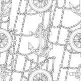 Ship equipment zentangle seamless pattern. Stock Image
