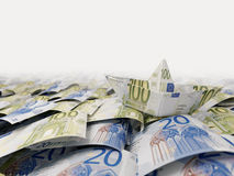 Ship from euro paper in the money sea concept composition photo Royalty Free Stock Photos