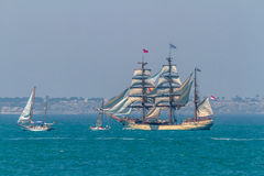 Ship Europa. CADIZ, SPAIN - JUL 29: Dutch Ship, Europa setting sail on the Tall ship races 2012 on July 29 , 2012, in Cadiz , Spain Royalty Free Stock Images