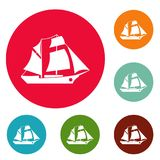 Ship excursion icons circle set vector. Isolated on white background Stock Photos
