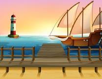 A ship exploring the sea. Illustration of a ship exploring the sea Stock Images