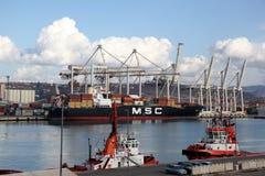 ship för behållaregdansk poland port Fotografering för Bildbyråer