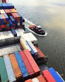 ship för behållaregdansk poland port arkivbild