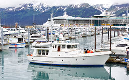 Ship för kryssning för Alaska Seward liten fartyghamn Fotografering för Bildbyråer