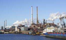 Ship at a factory Stock Photo