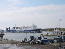 Ship-ferry DFDS Seaways. And ferry in Klaipeda harbour, Lithuania royalty free stock photos