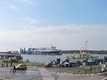 Ship-ferry DFDS Seaways. And ferry in Klaipeda harbour, Lithuania royalty free stock images