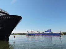 Ship-ferry DFDS Seaways. In Klaipeda harbour, Lithuania stock photo
