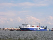 Ship-ferry DFDS Seaways. In Klaipeda, Lithuania stock photo