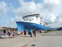 Ship -ferry in Ventspils, Latvia Royalty Free Stock Images