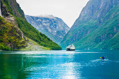 Ship ferryboat on norwegian fjord Royalty Free Stock Photography