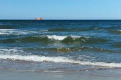 Ship, fishing, sea, waves, fishing, fish, mining, trailing, cruiser Stock Photo