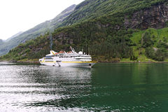 Ship in fjord. Royalty Free Stock Photos