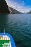 Ship and fjord Sognefjord - Norway Stock Photography