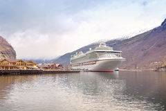 Ship in the fjord Sognefjord Royalty Free Stock Photography