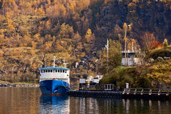 Ship in Fjords. Flam, Norway Stock Photos