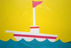 Ship with a flag. Child applique: ship with a flag Stock Images